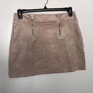 Mauve suede mini skirt